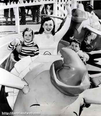 Shirley Temple Black and her children on Dumbo