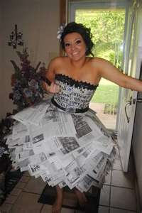 PROM DRESS MADE OUT OF NEWSPAPER