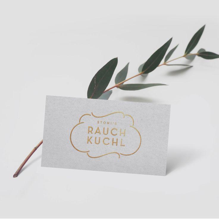 Logo Rauchkuchl #logo #logodesign #rauchkuchl #smoke #austria #graphicdesign #businesscard #gold #foil #metallic #texture #organic