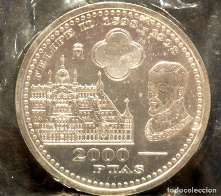 2000 Pesetas 1998 Iv Centenario De Felipe Ii Plata España En Bolsa Original Centenario Monedas Bolsas Originales