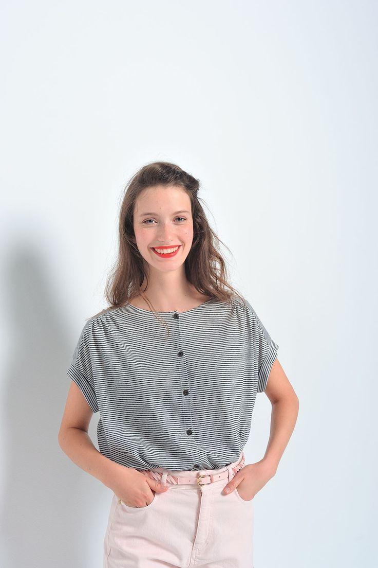 Tee shirt jasou ecru/marine - t-shirt 68% coton, 32% lin  - des petits hauts 1