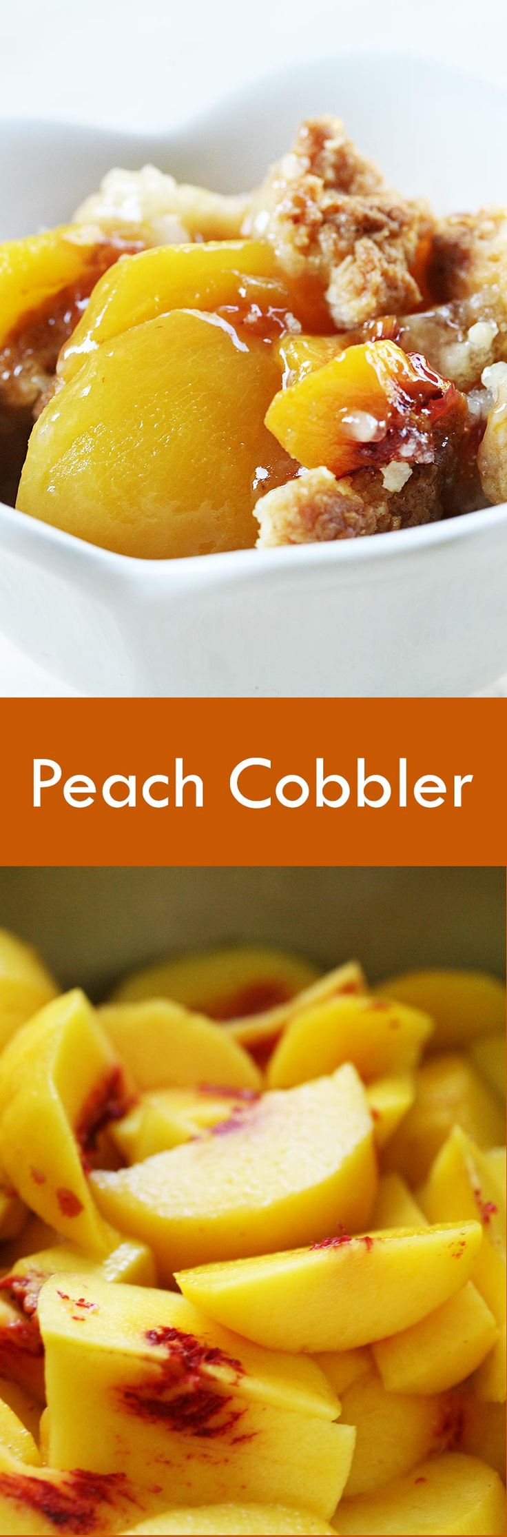 Peach cobbler, easy and delicious! Prepared with ripe yellow peaches, lemon, nutmeg, and a crumbled dough topping. On SimplyRecipes.com