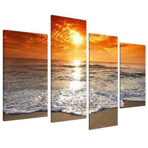 LARGE SUNSET BEACH CANVAS WALL ART ORANGE CENTER PIECE DECORATE FREE UK DELIVERY