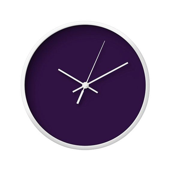 solid color wall clock 5 color options purple green turquoise blue storm vintage wall clock modern wall clock wood clock minimal