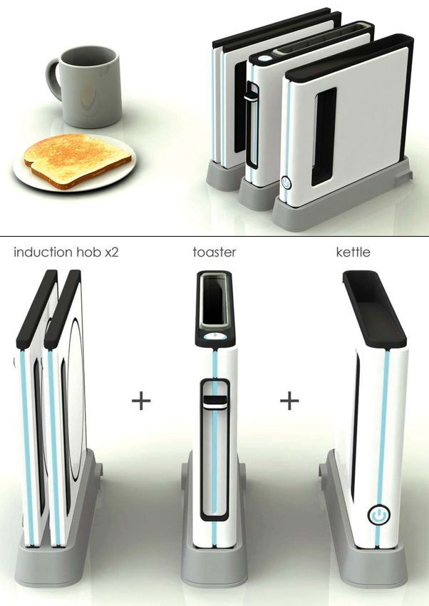 Space Saving Kitchen Range – Modular Kitchen Appliance by Shin Woosup-What a wonderful idea, one modular appliance that is efficient enough to prepare the entire breakfast. A toaster, a kettle and an induction hob, that's what the Modular Kitchen Appliance is all about!