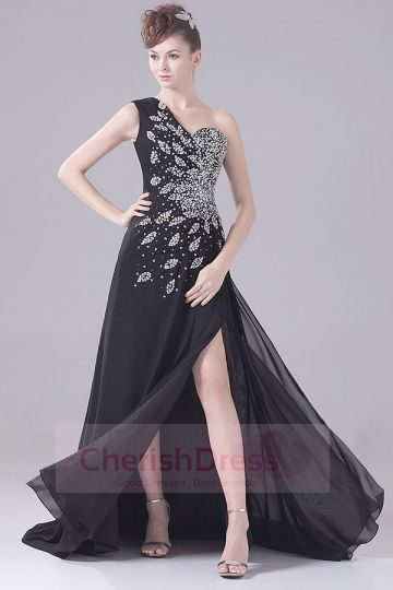 Shiny Black One Shoulder Side Draping Pleats Court Train Dress - OCCASION DRESSES
