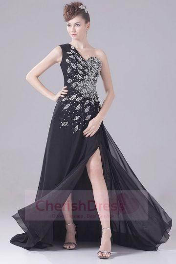 Shiny Black One Shoulder Side Draping Pleats Court Train Dress - OCCASION DRESSES