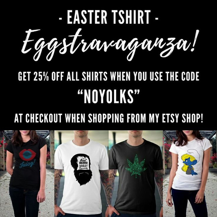 """No yolks folks! You read that right, starting this Easter and as an introduction to my new dtg printed tshirt products, grab 25% off when you use the code """"noyolks"""" at checkout! Eggcited yet? Hop on over now!"""