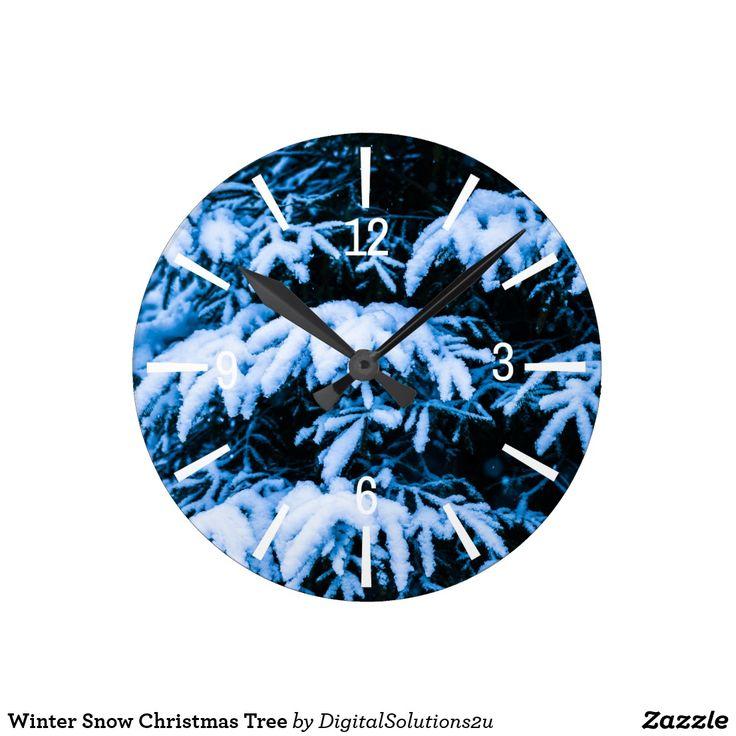 Winter Snow Christmas Tree Round Clock