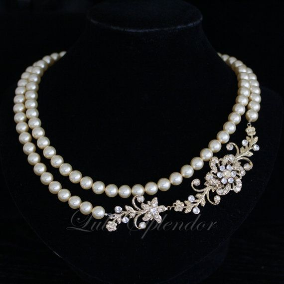 Bridal Pearl Necklace Gold Wedding Necklace by LuluSplendor, $135.00