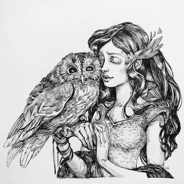 An ink drawing of a girl and her pet owl