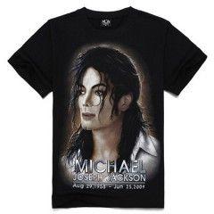 3D cou Homme Noir 3D Michael Jackson pur coton ronde manches courtes T-shirt 18 TAILLE la couleur sait noir tout les t-shirt sons noir merci  S blanc  M bleu  L jeune  XL noir  XXL rouge