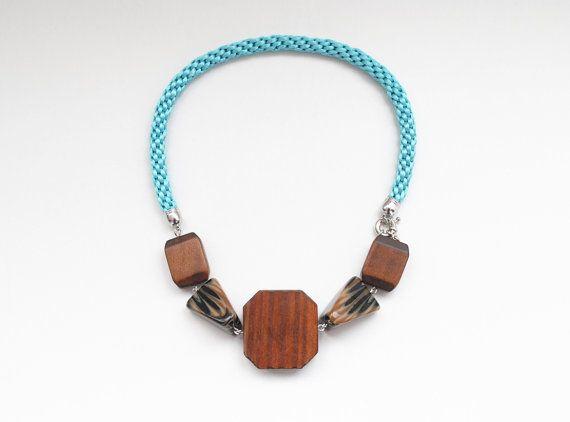 Big wooden beads necklace statement necklace wood by elfinadesign