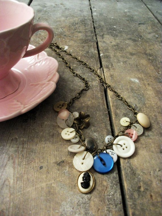 Cameo Button Necklace by VioletJewelleryCo on Etsy