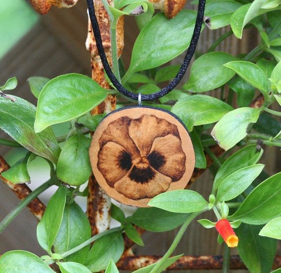 Pansy Flower Necklace gourd wood burned pyrography by JRAGourdArt