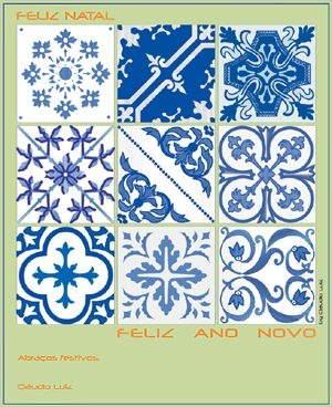 Portuguese old tiles - white & blue traditional design.