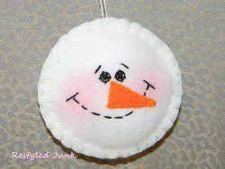 Fuzzy Felt Snowman Ornament