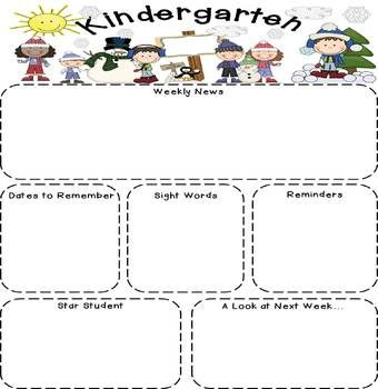 Kindergarten Newsletters (Editable)
