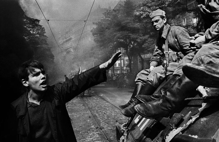 CZECHOSLOVAKIA. 1968. Prague. Invasion of Warsaw Pact troops near the Radio headquarters. Magnum Photos Photographer Portfolio