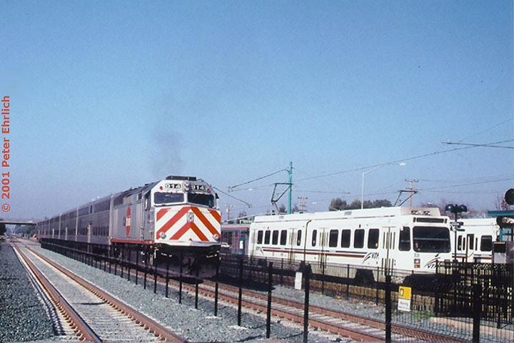 Caltrain and Bart at downtown  Mountain View Station