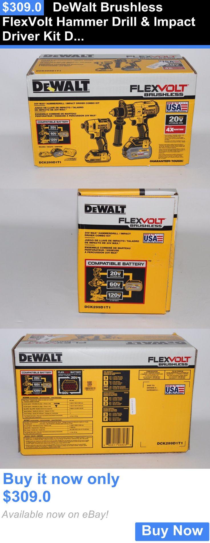 tools: Dewalt Brushless Flexvolt Hammer Drill And Impact Driver Kit Dck299d1t1 New BUY IT NOW ONLY: $309.0