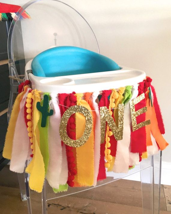 Fiesta High Chair Fabric Garland with Number Banner