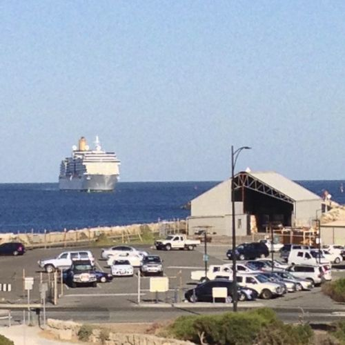 Cruise liner coming into Fremantle Dock, Fremantle, Western Australia.