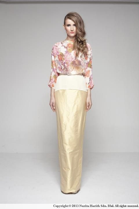 Premium- Sadie by Nurita Harith, a Malaysian Fashion Designer. Amazing pairing of a floral blouse and a gold skirt.