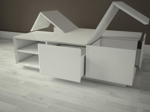 Kjub - big version - a coffee table with four storage compartments.