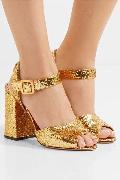 Heel measures approximately 95mm/ 4 inches Gold glittered leather  Buckle-fastening ankle strap Come with an adhesive Polaroid picture which can be placed on the outside of your shoe box Made in Italy