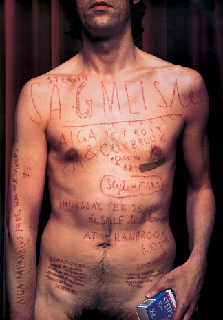 Sagmeister's assistant used a razor blade to cut text into his skin.  According to his book the cutting took over 8 hours to complete.