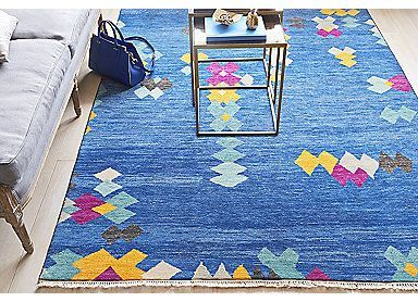 "6'x9'2"" Sari Wool Navarino Rug, Indigo 
