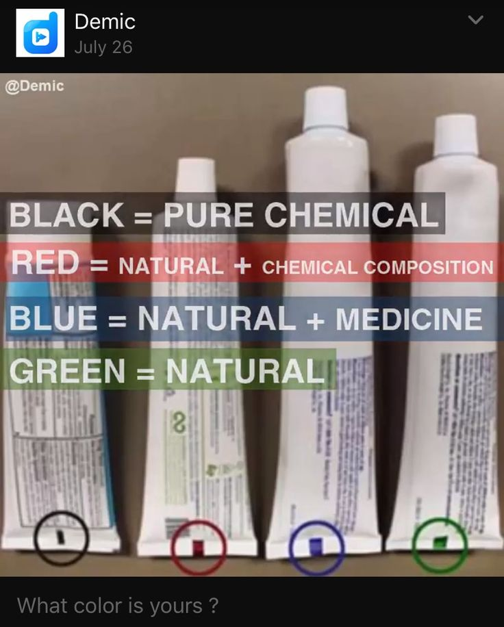 Toothpaste color coding Note: Baking Soda & Hydrogen Peroxide would be considered total chemicals. Read the ingredients labels.