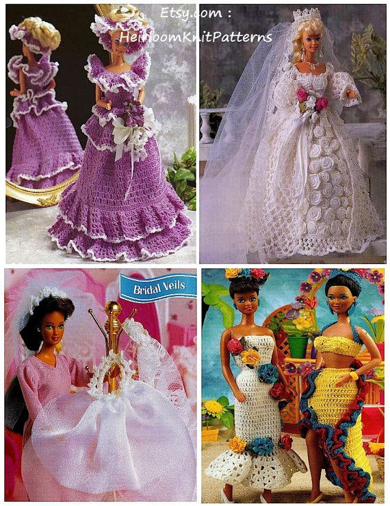 ******** Instant Download Crochet Pattern PDF - Col.4 ******** 4 in 1 PDF Crochet Patterns to fit Fashion Doll/ Barbie doll of 11 1/2. Blushing Bride - Wedding Dress in size 10 crochet thread. Bridesmaid - Dress and Hat in size 10 crochet thread. Bridal Veils - 3 Veils in size 10