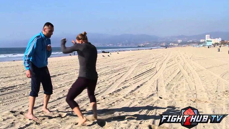 Ronda Rousey vs. Miesha Tate 2- Rousey Beach workout | mma wmma kick boxing martial arts