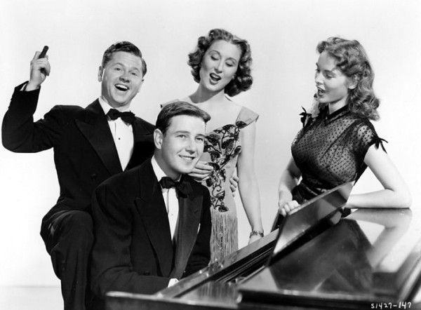 Mickey Rooney, Tom Drake, Betty Garrett  and Janet Leigh in Words And Music, 1948