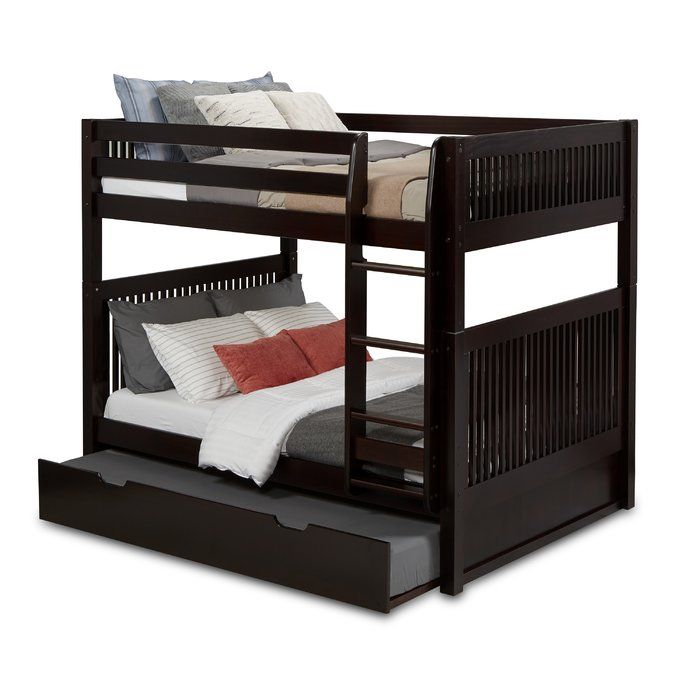 Rabon Full Over Full Bunk Bed With Twin Trundle Mission Headboard Bunk Bed With Trundle Full Bunk Beds Trundle Bed Frame Full over full with trundle