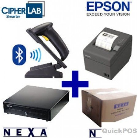 Buy Bundle of CipherLab Blutooth Scanner, Epson Printer, Nexa Drawer and Thermal Paper Rolls