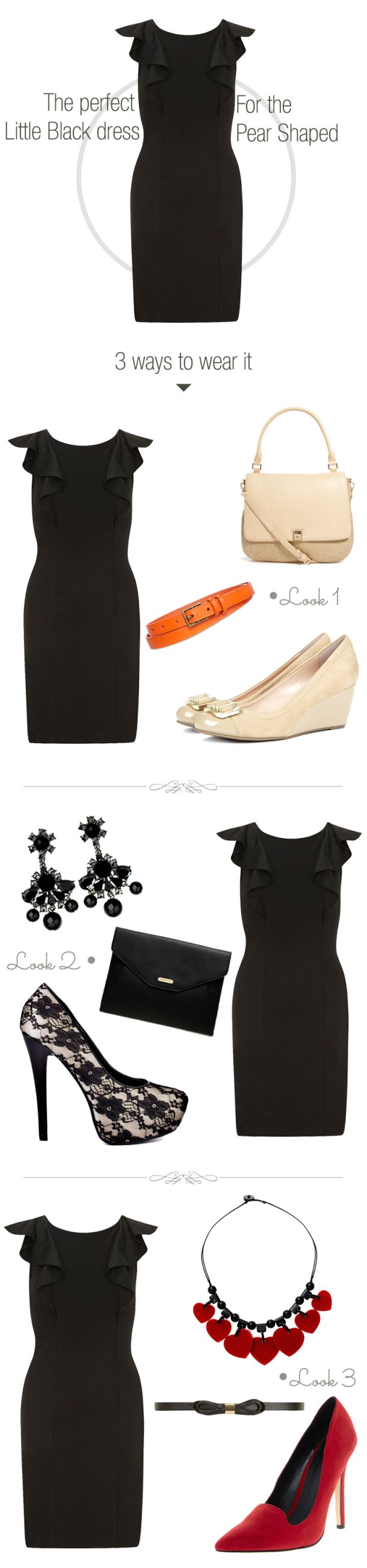 the-best-little-black-dress-for-the-pear-shaped woman. Remember you can carry off fitted clothing below the waist. Just balance our with ruffles or details on top. 3 ways to wear your LBD - Little black dress in the day for a formal evening event and to party.