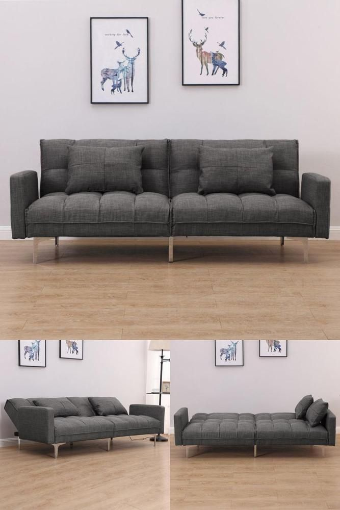 Grey Recliner Sofa Bed 3 Seater Guest Visitor Lounger Modern Home Room Furniture House Rooms Sofa Home Decor