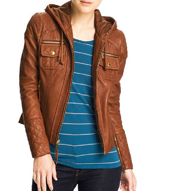 Womens brown leather jacket with hooded – Modern fashion jacket ...