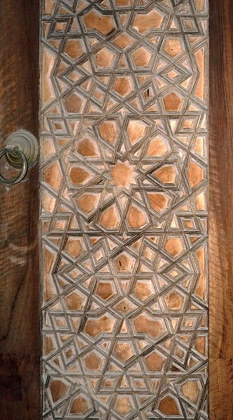 Image TUR 0210 featuring door or doorway from the Topkapi Saray, in Istanbul, Turkey, showing Geometric Pattern using carved, inlaid or painted woodwork.