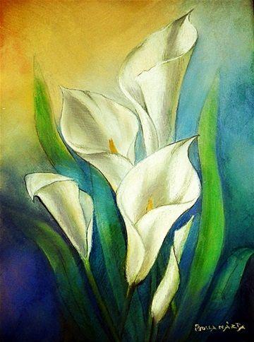 Calla lily - Fehér kála  Pastel - 28 x 35 cm - by Márta Bolla -  Hungary