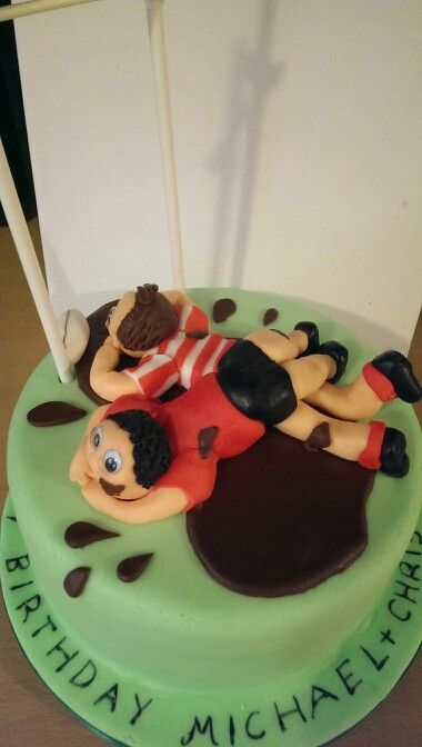 Rugby Themed Birthday Cake