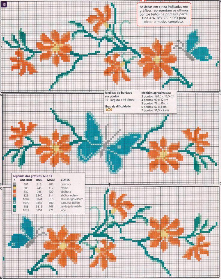 Oi amigas!  Hoje vou postar pra vocês, flores! Quando não sei o que bordar... escolho sempre as flores! A questão é escolher qual o gráfico,...