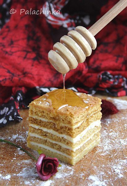 Medovik.  Russian layered Honey Cake with Sour Cream Custard.  I find that this recipe benefits by using very fragrant, organic local honey vs. the mild tasting generic honey found in a bear squeeze bottle at the grocery store...