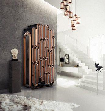 Schrank Oblong Aus Holz Mit Metallen Accente Für Luxuriöse Ambiente. Es  Kann Auch Als Ein