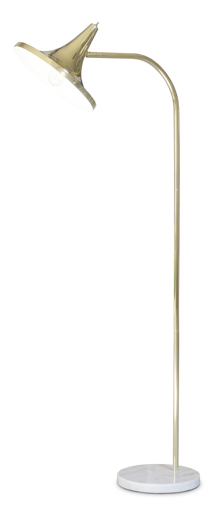 Love the brass color and shade design of the overarching floor lamp by Laura Väre.