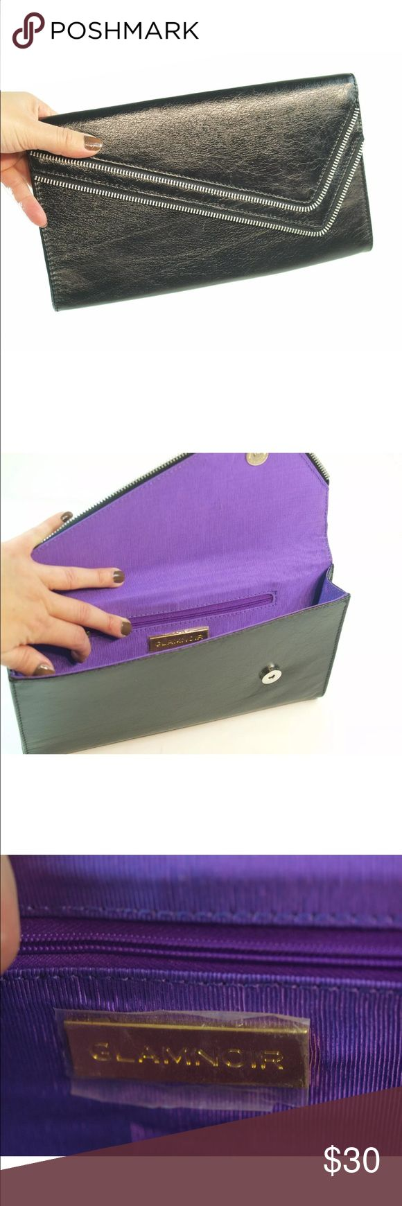 GLAM NOIR Zipper Clutch Up for sale Glamnoir Women's  Leather Zip Clutch Purse  Brand New never used Zipper clutch by Glamnoir, retails for $95  Super chic and perfect for night out  Zipper front style, purple linen inside Glam Noir Bags Clutches & Wristlets