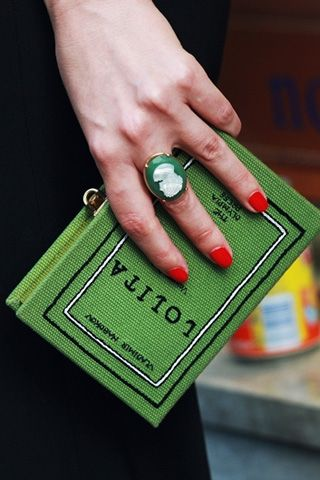 Olympia Le-Tan's whimsical clutches, which are made to look like famous novels such as Moby-Dick and Lolita.